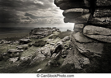 Dramatic Wild Moorlands rocks. Wild landscape from Dartmoor,...