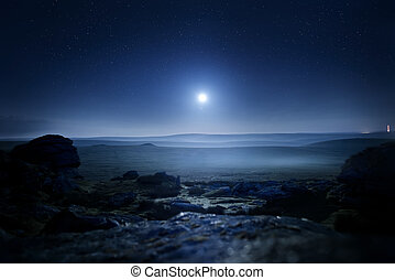 Moonlight Landscape. Glowing mist from moonlight over...
