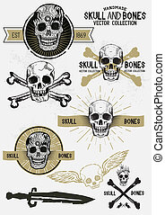 Vector Pirate Skull and Bones Set with various design...