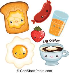 cute breakfast food. vector image - cute breakfast food -...