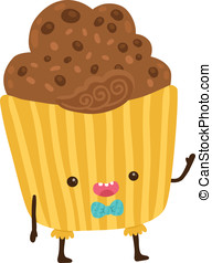 cute cartoon cupcake character