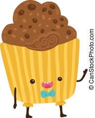 cute cartoon cupcake character