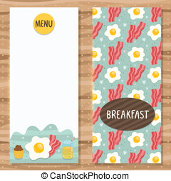 Brochure template for breakfast menu with egg, bacon