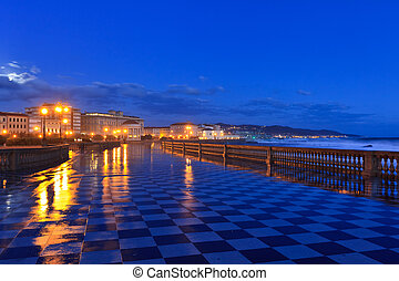 Livorno, Italy - Mascagni terrace in night, Livorno....