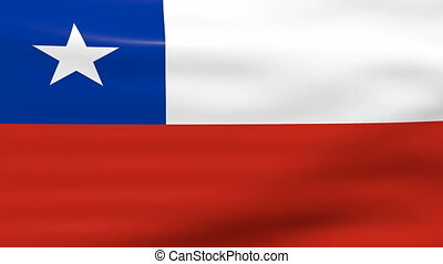 Waving Chile Flag, ready for seamless loop