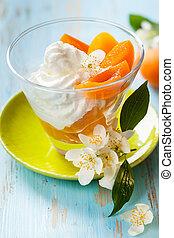 Apricot dessert - Dessert with yogurt,honey and apricot...