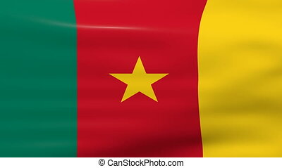 Waving Cameroon Flag, ready for seamless loop.