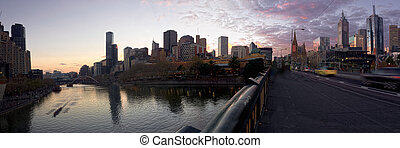 melbournes princess bridge - melbourne at sunset looking...