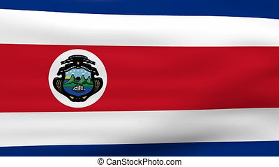 Waving Costa Rica Flag, ready for seamless loop