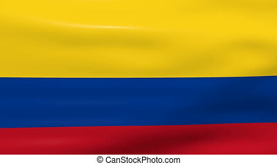 Waving Colombia Flag, ready for seamless loop.