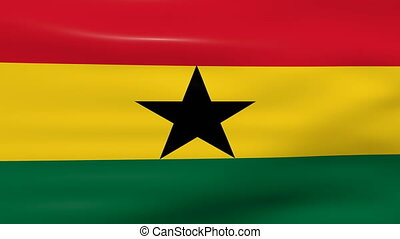 Waving Ghana Flag, ready for seamless loop.