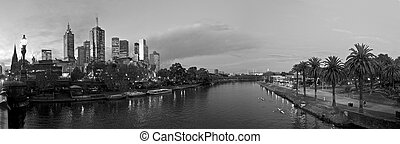 melbourne at night with the yarra river
