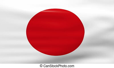 Waving Japan Flag, ready for seamless loop