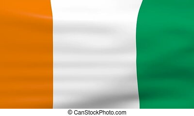 Waving Ivory Coast Flag, ready for seamless loop