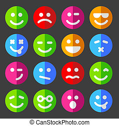 Flat and round vector emotion icons with smiley faces
