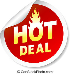 Hot deal sticker badge with flame - Hot deal round, red...
