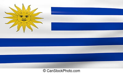 Waving Uruguay Flag, ready for seamless loop.