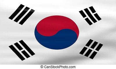 Waving South Korea Flag, ready for seamless loop