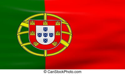 Waving Portugal Flag, ready for seamless loop