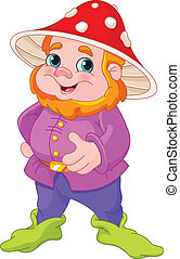 Cute Gnome - Illustration of cute Gnome with mushroom hat
