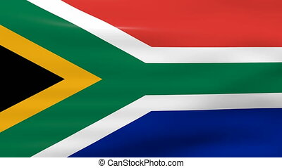 Waving South Africa Flag, ready for seamless loop.