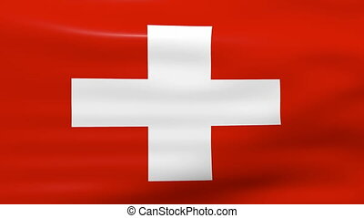 Waving Switzerland Flag, ready for seamless loop.