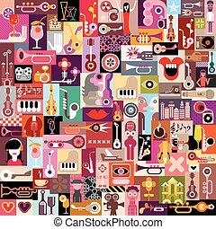 grafisk, design, collage,