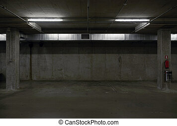 underground parking garage - underground dark parking garage...