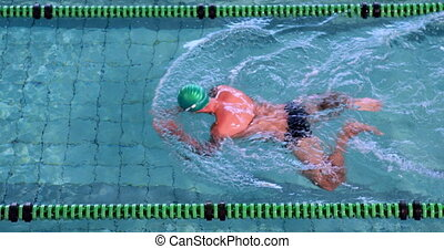 Fit swimmer doing the breast stroke in the swimming pool in...