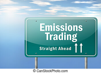 Highway Signpost Emissions Trading - Highway Signpost with...