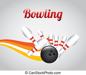 Bowling design over gray background, vector illustration