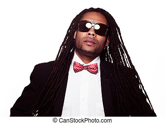 man wearing sunglasses and suit dreadlocks - businessman...