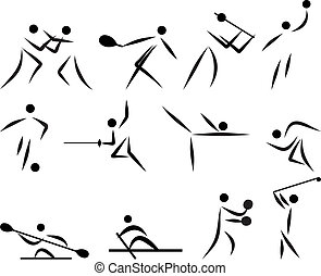summer sport icon set - Vector illustration summer games...