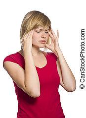 rubio, hembra, teniendo, dolor de cabeza