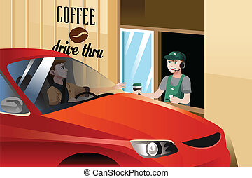 Barista serving customer - A vector illustration of barista...