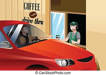 Barista serving customer - A vector illustration of barista...