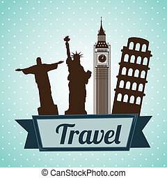 Travel design over blue background, vector illustration