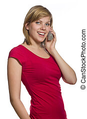 young girl talking on the phone - beautiful young girl...