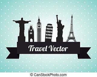 Travel design over blue background, vector illustration