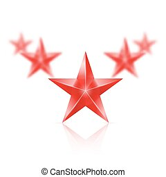 Five red stars in the shape of wedge on white