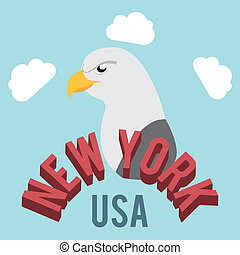 NYC design over cloudscape background, vector illustration