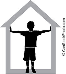 silhouette of boy at house on white background