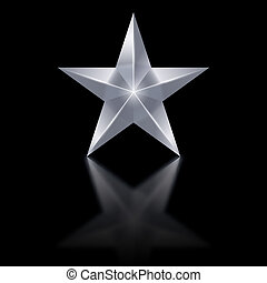 Silver star on black background - Silver star of five points...