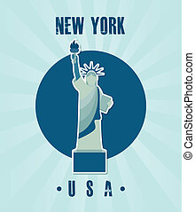 NYC design over blue background, vector illustration