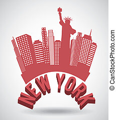 NYC design over gray background, vector illustration