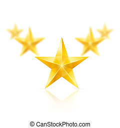 Five gold stars in the shape of wedge