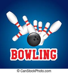 Bowling design over blue background, vector illustration