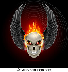 Flaming mutant skull - Mutant skull with orange flame and...
