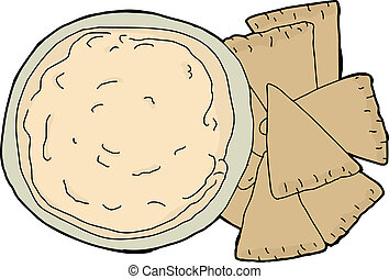 Isolated Pita and Dip - Isolated wheat pita chips with bowl...