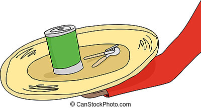 Fancy Canned Food - Golden plate with canned food and can...